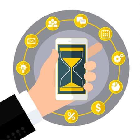 Ilustração com uma mão segurando um celular contando o tempo, a ideia é ilustrar a redução no de tempo de negociação de negócios B2B com a aplicação de estratégias de Inbound Marketing.