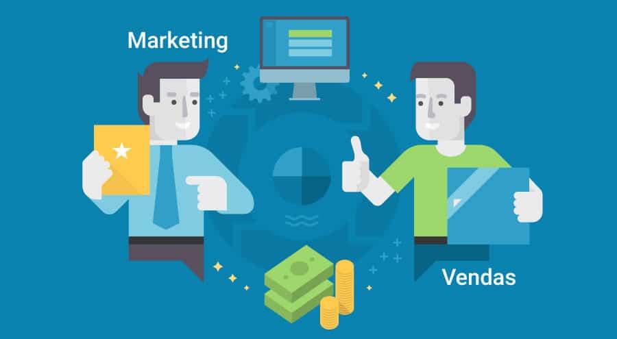 Ilustração representando para a interação entre as áreas de marketing e vendas na passagem de leads.
