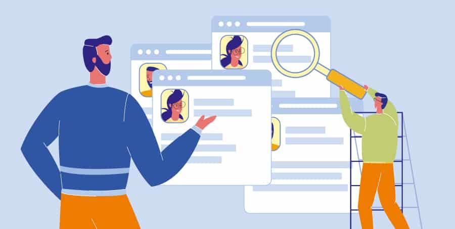 Diferenças entre persona e público-alvo, na ilustração são mostradas duas figuras procurando por dados de uma persona online.